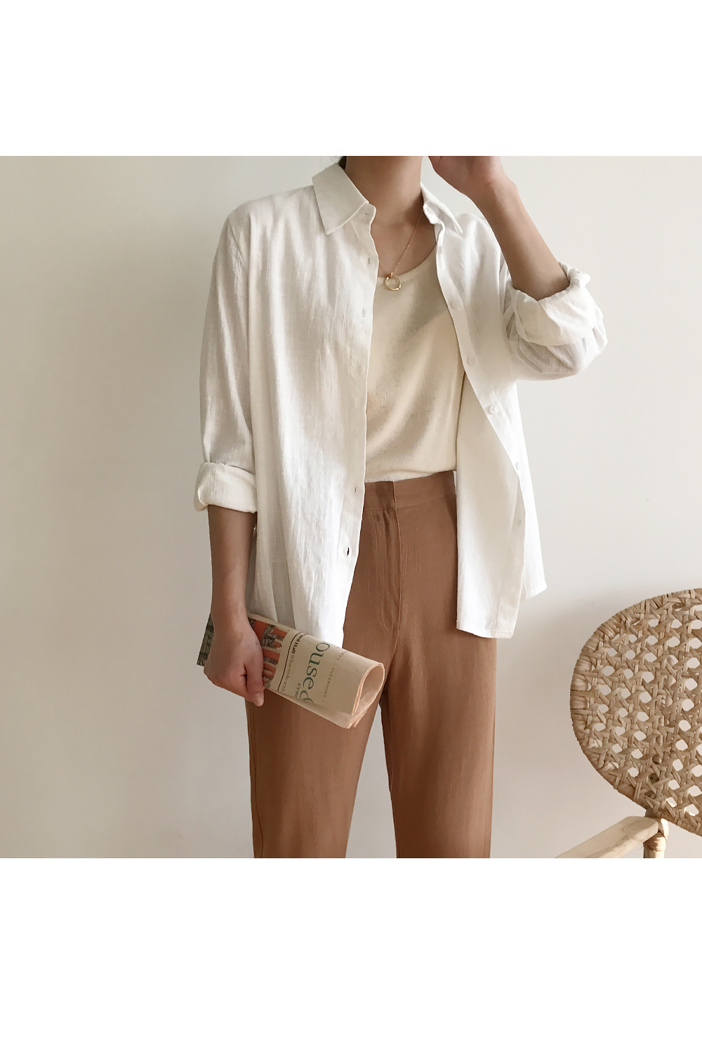 Solid Classic Linen Shirt-holiholic.com