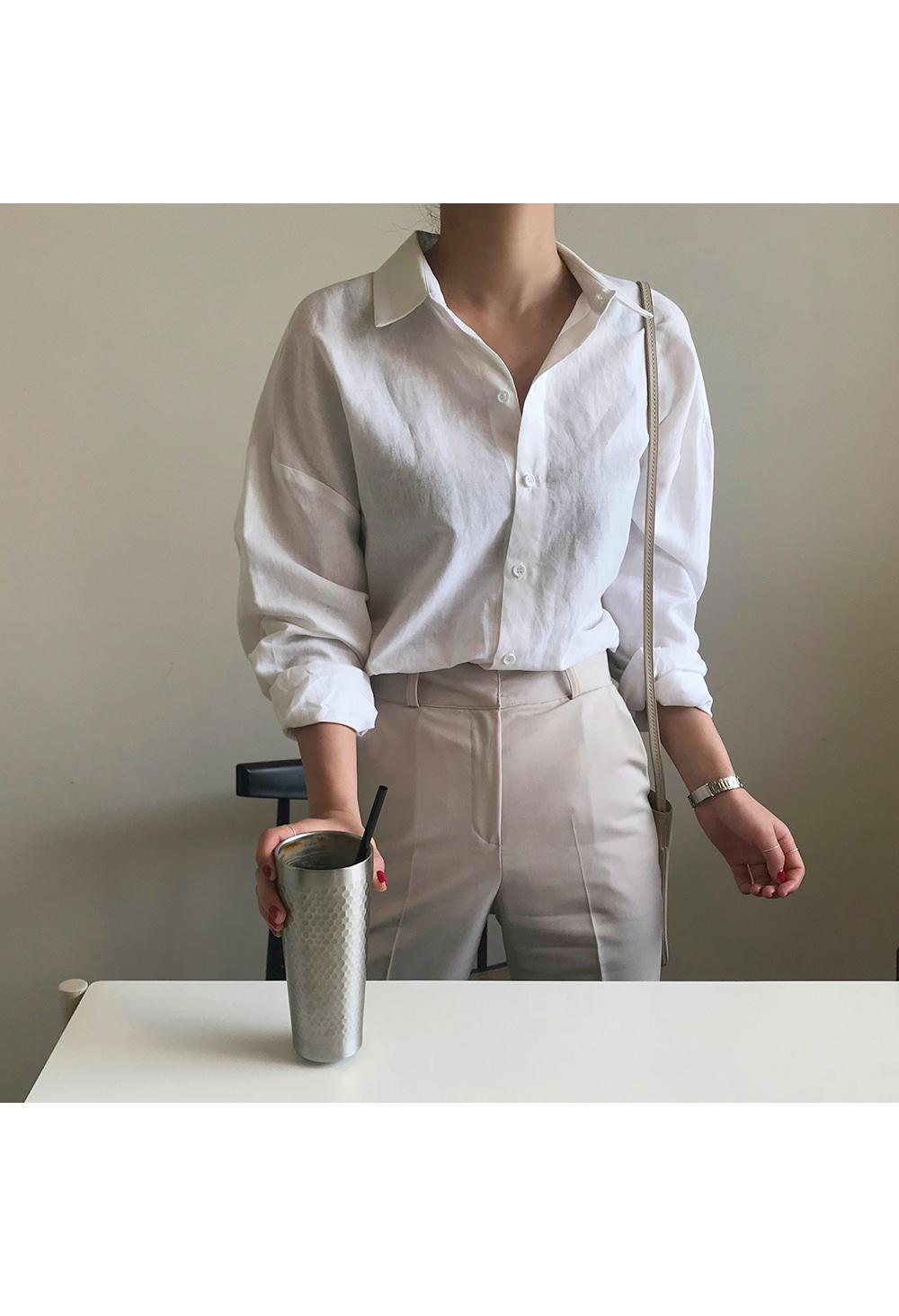 Boxy White Linen Shirt-holiholic.com