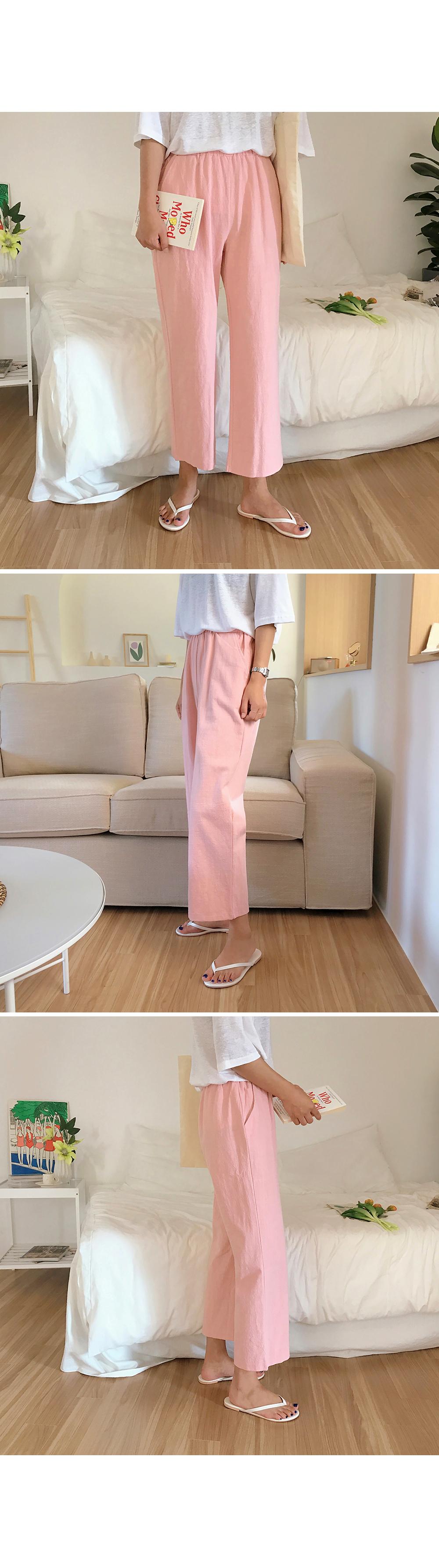 Pink Casual Linen Pants-holiholic.com