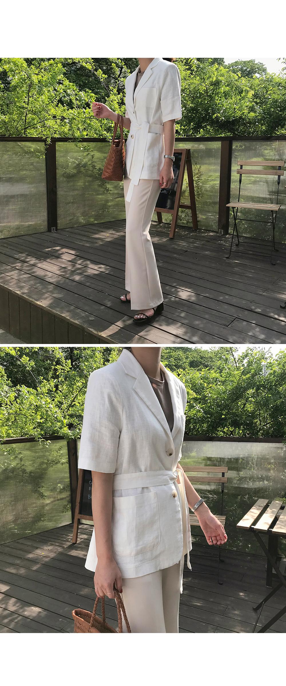Half Sleeve Belted Linen Jacket-holiholic.com
