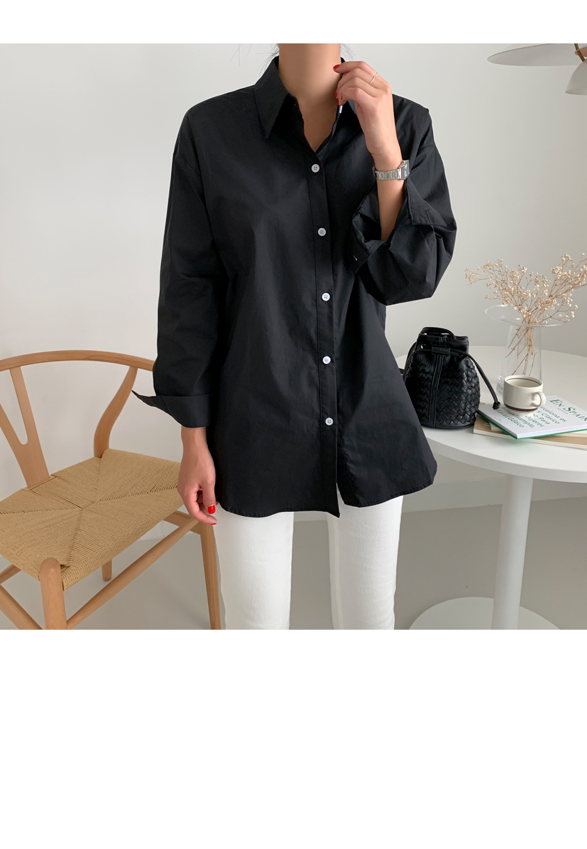 Side Slit Solid Cotton Shirt-holiholic.com