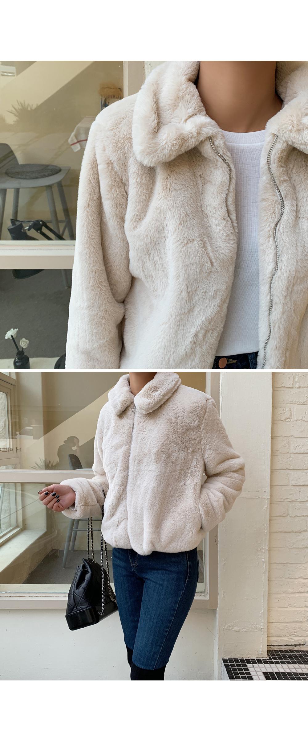 Eco Fur Zip up Coat-holiholic.com