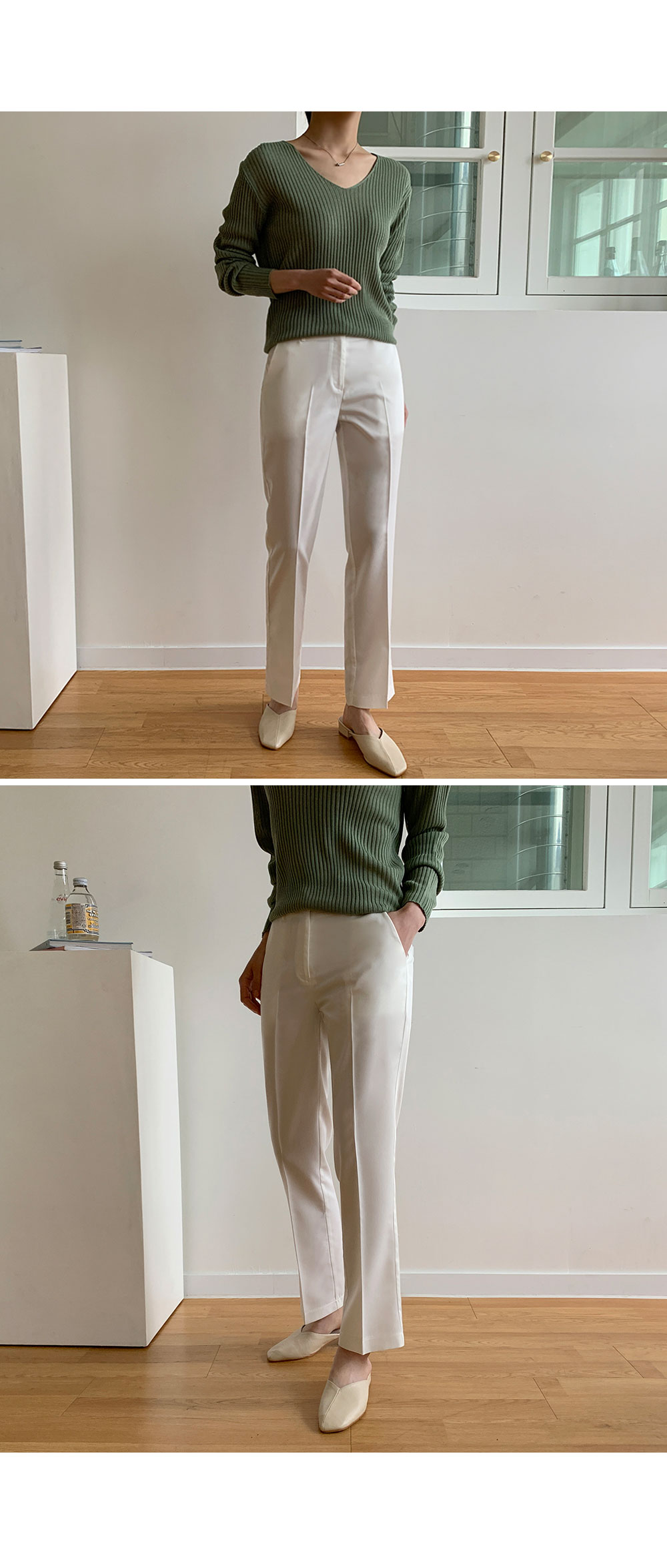 Straight Fit Slim Slacks  -holiholic.com