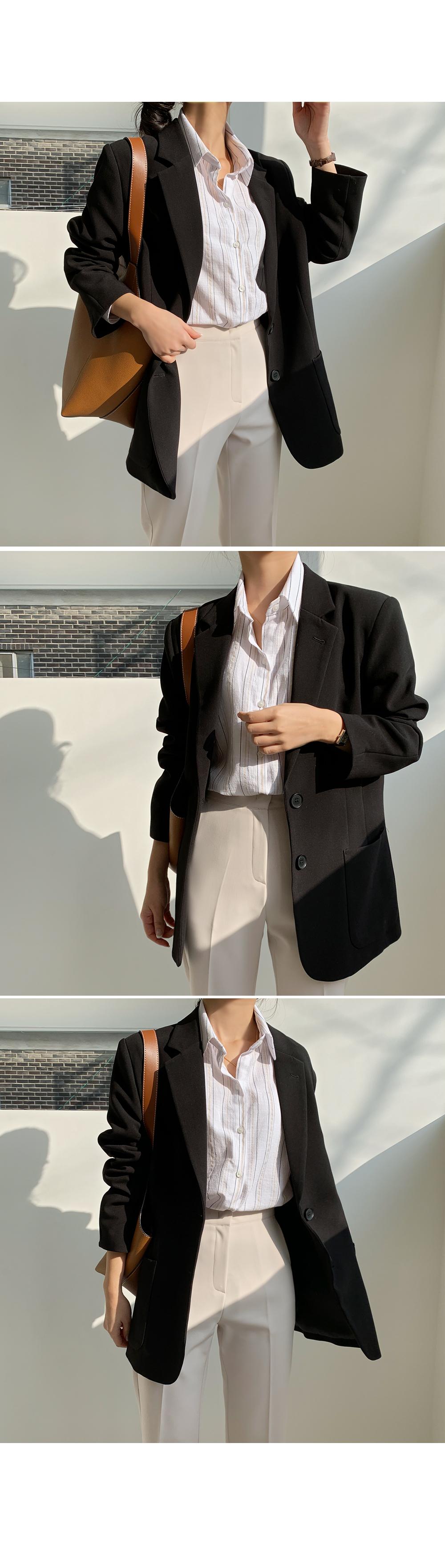 Black Basic Single Jacket-holiholic.com