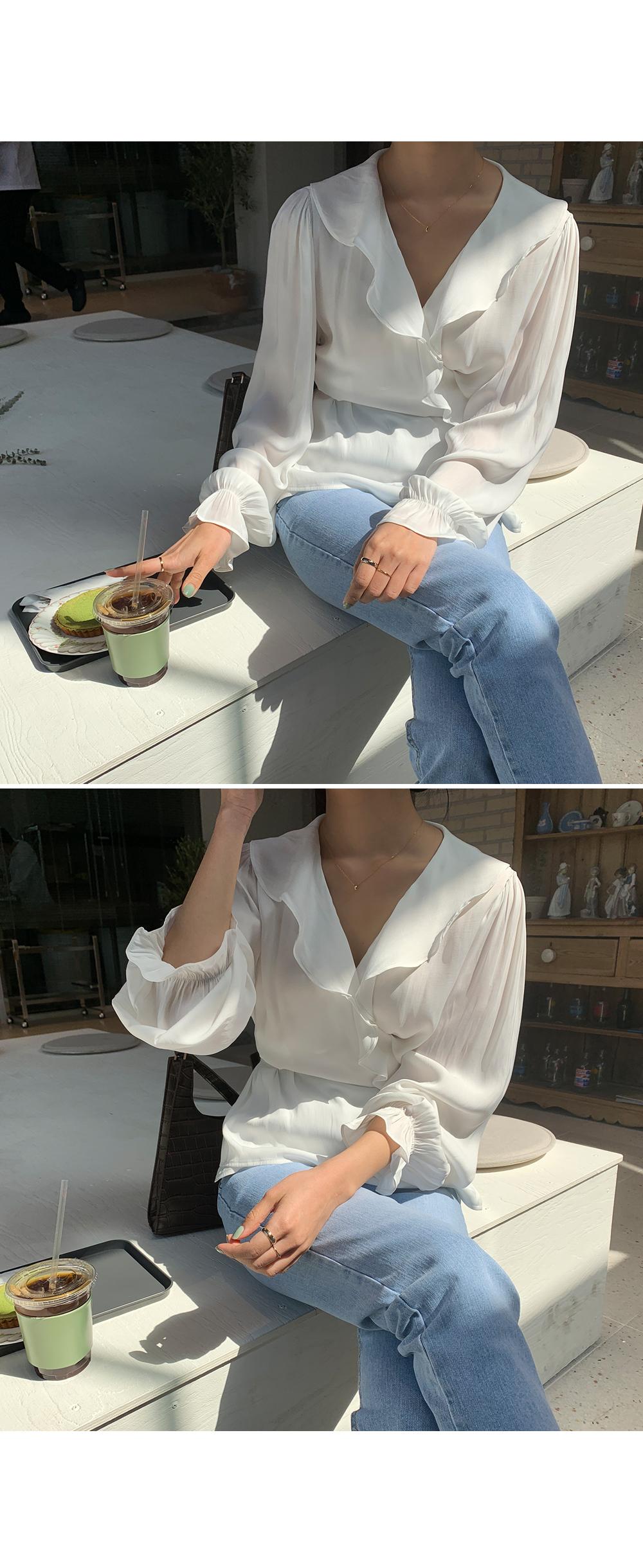 Frill Collar Wrap Blouse-holiholic.com