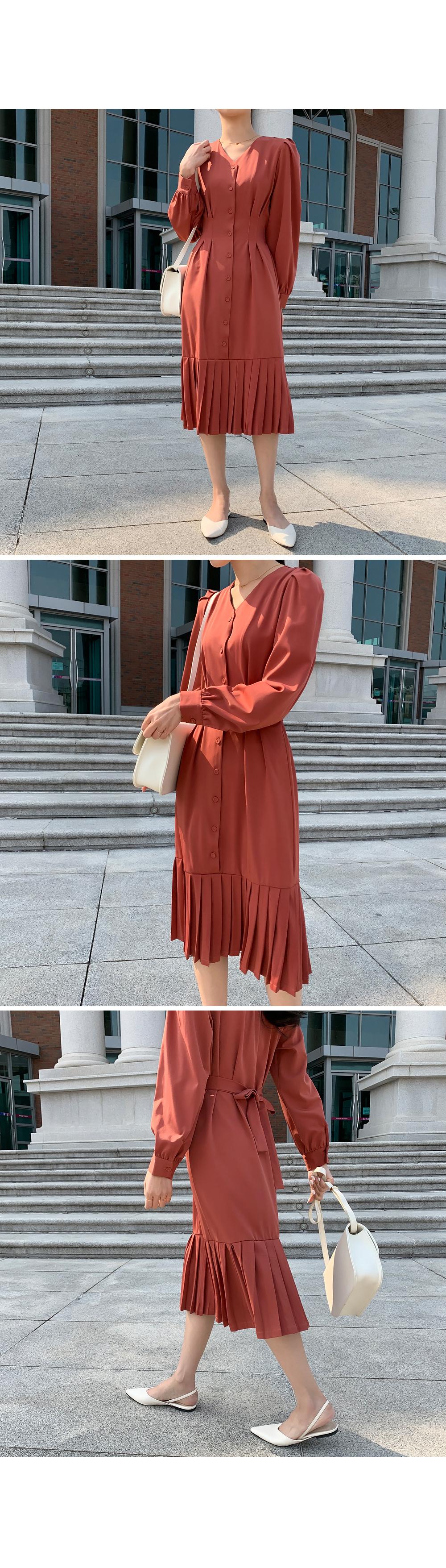 Pleats Hem V Neck Dress-holiholic.com