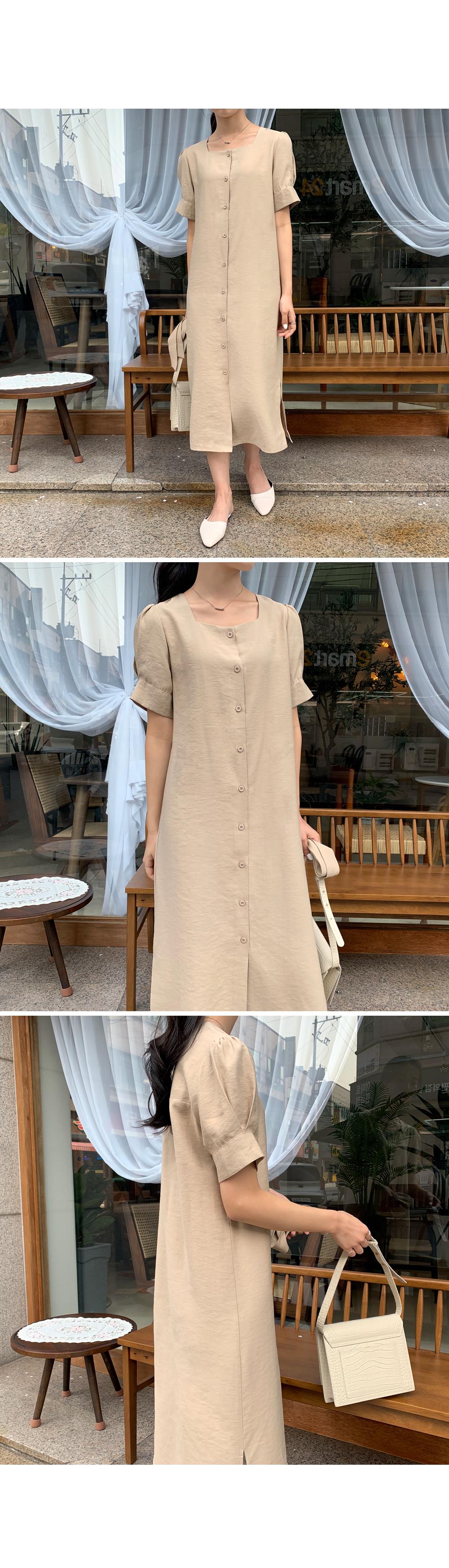 Square Neck Button Up Dress-holiholic.com