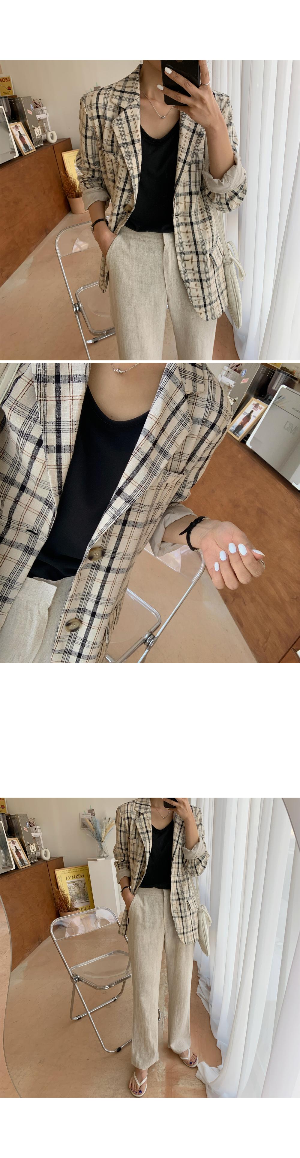 Casual Plaid Check Blazer-holiholic.com