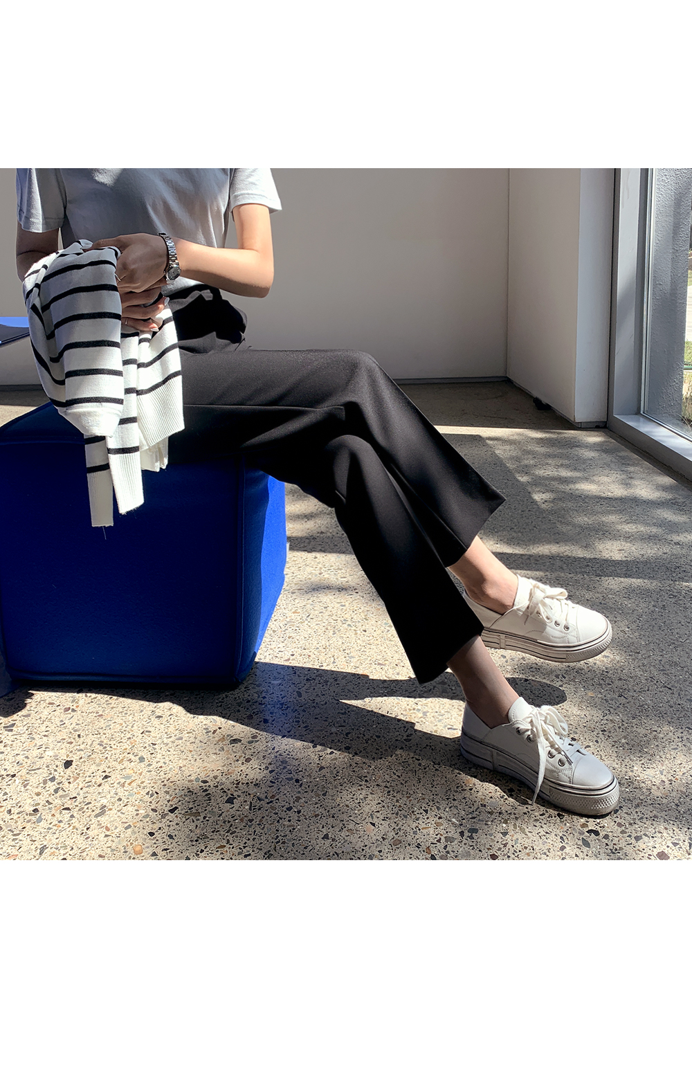 Basic Regular Leg Trousers-holiholic.com