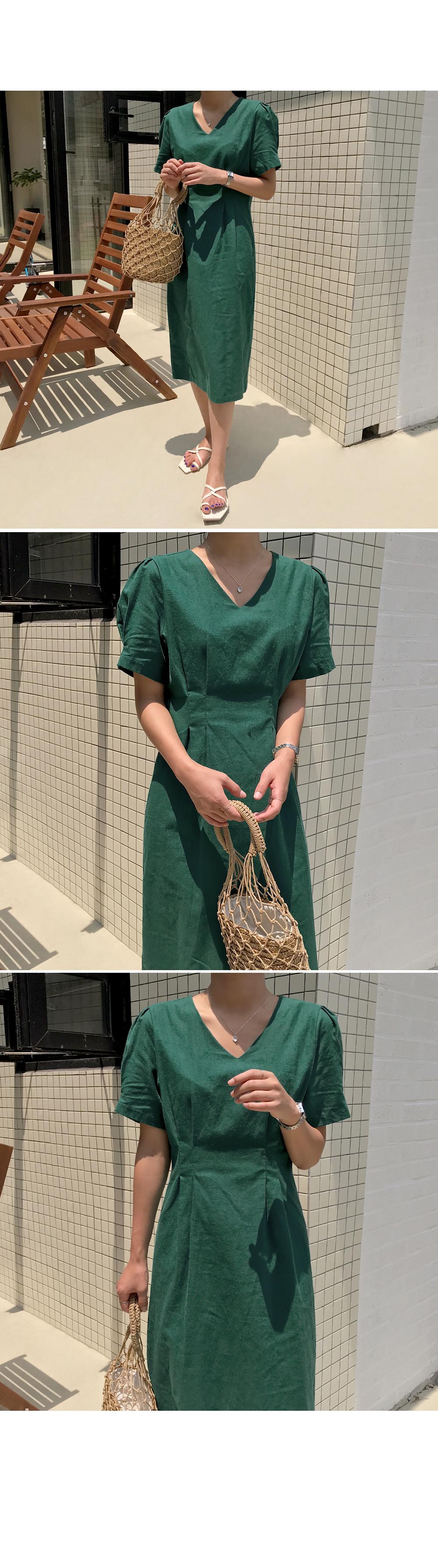 Tulip Sleeve Linen Dress-holiholic.com