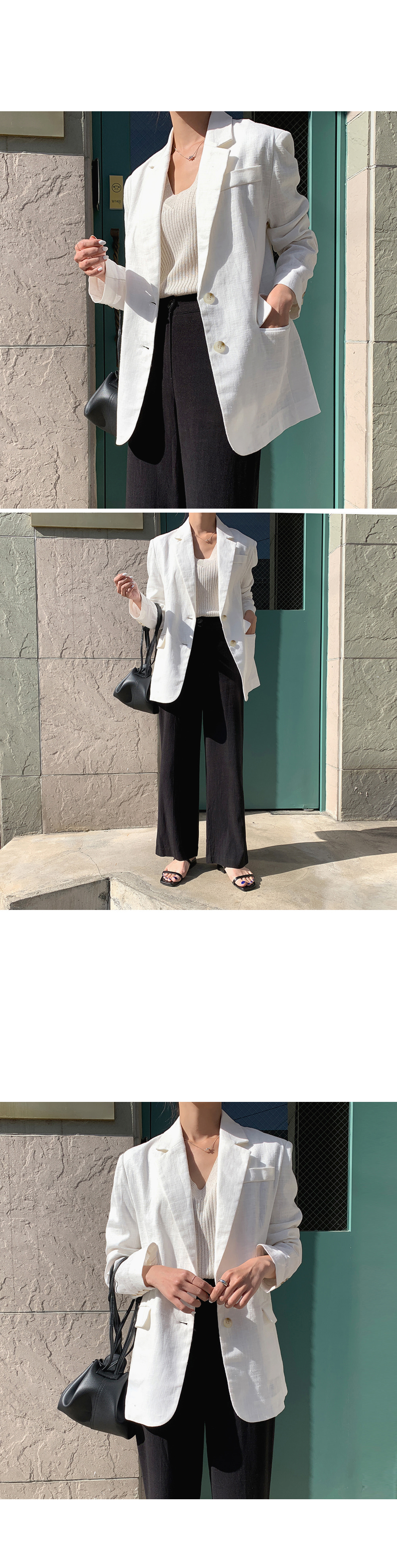White Single Button Linen Blazer-holiholic.com