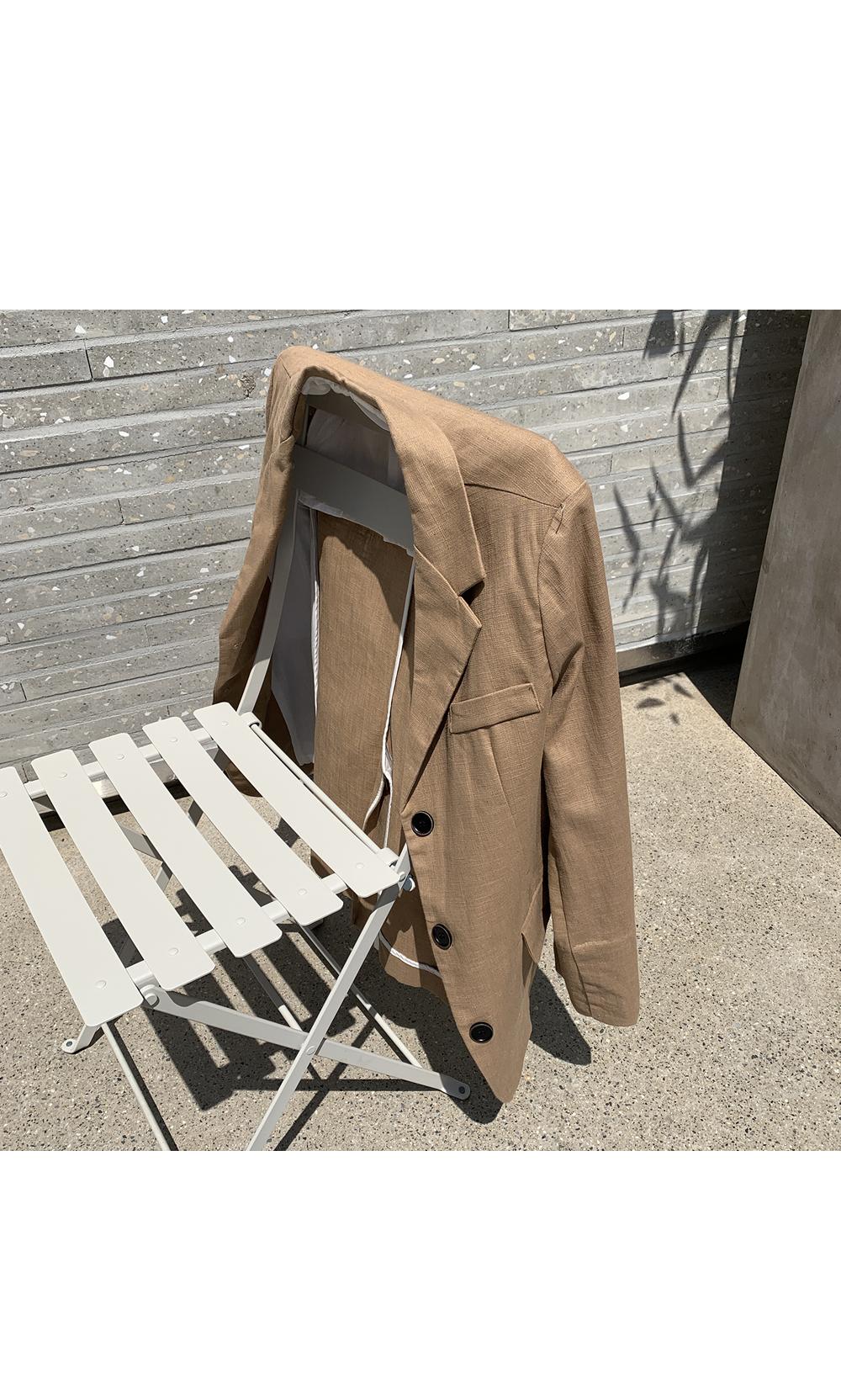 Brown Linen Button Blazer-holholic.com