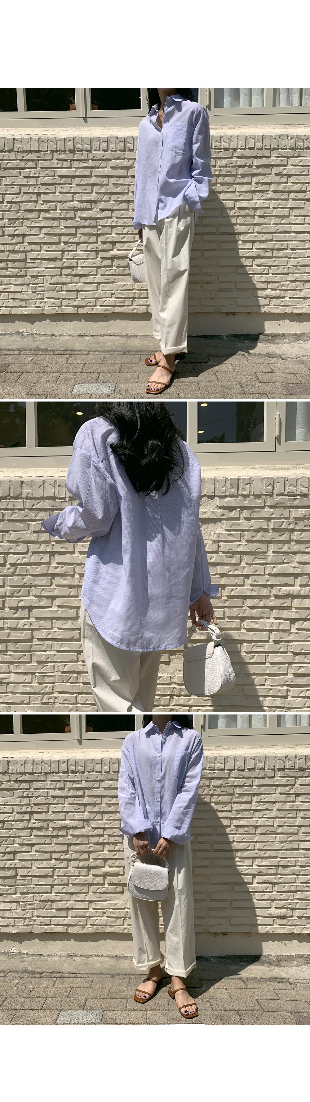 Sky Blue Stripe Cotton Shirt-holiholic.com