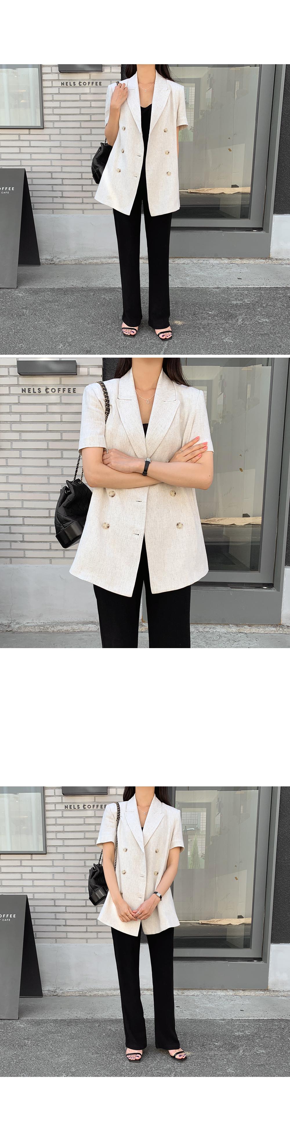 Modern Beige Linen Blazer-holiholic.com