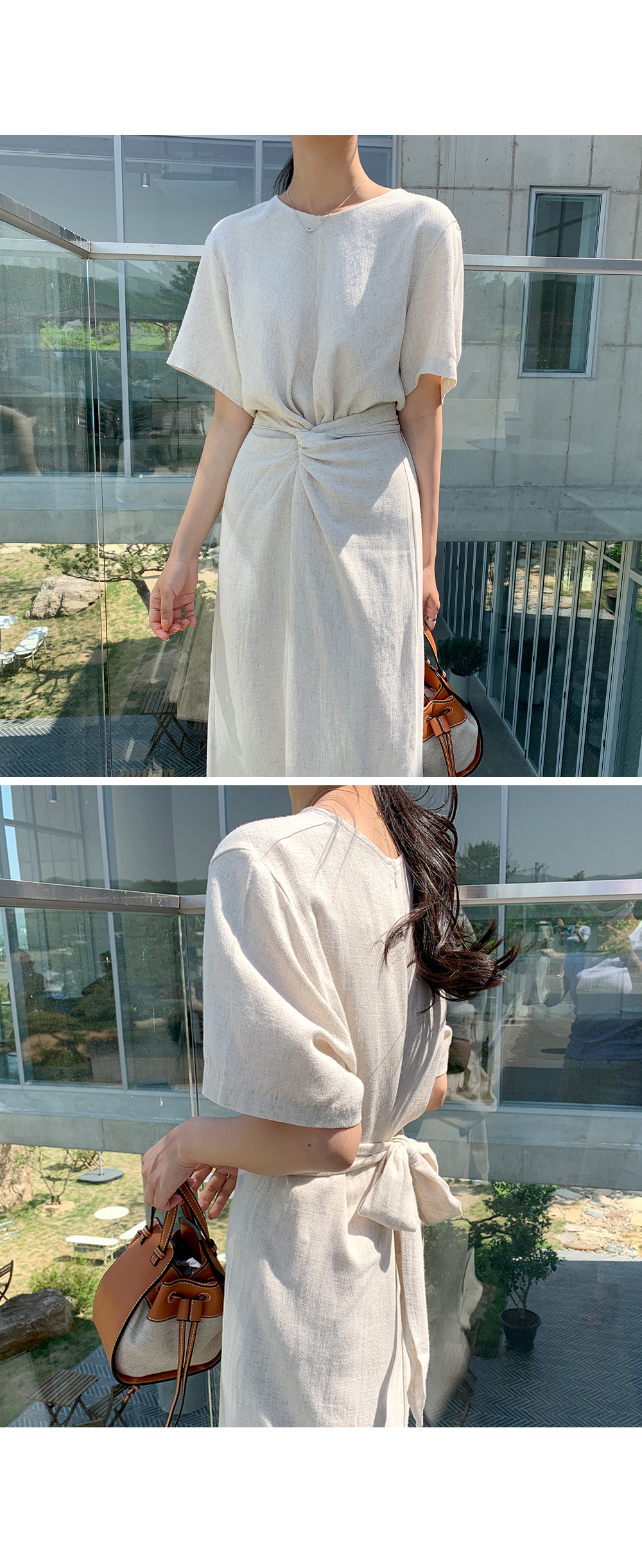 Rachel Twist Linen Dress-holiholic.com