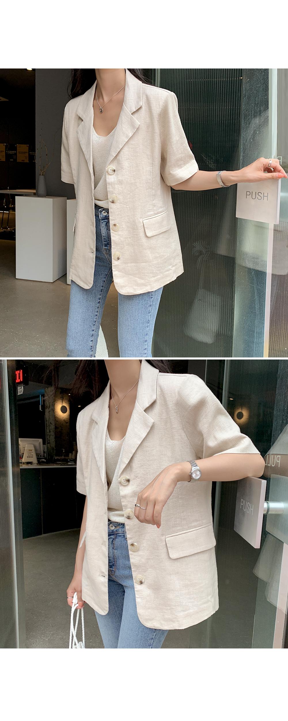 Short Sleeve Linen Jacket-holiholic.com