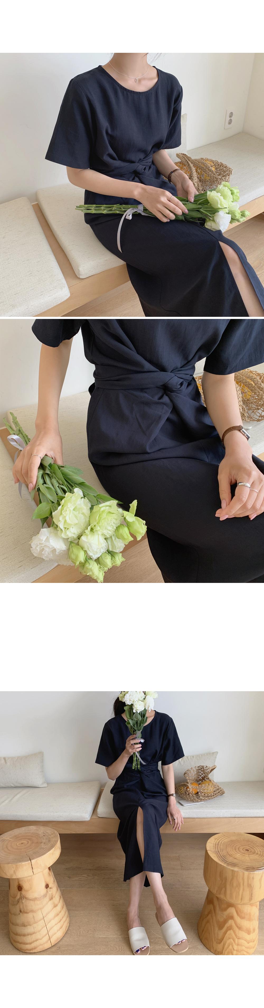 Navy Twist Knot Linen Dress-Holiholic