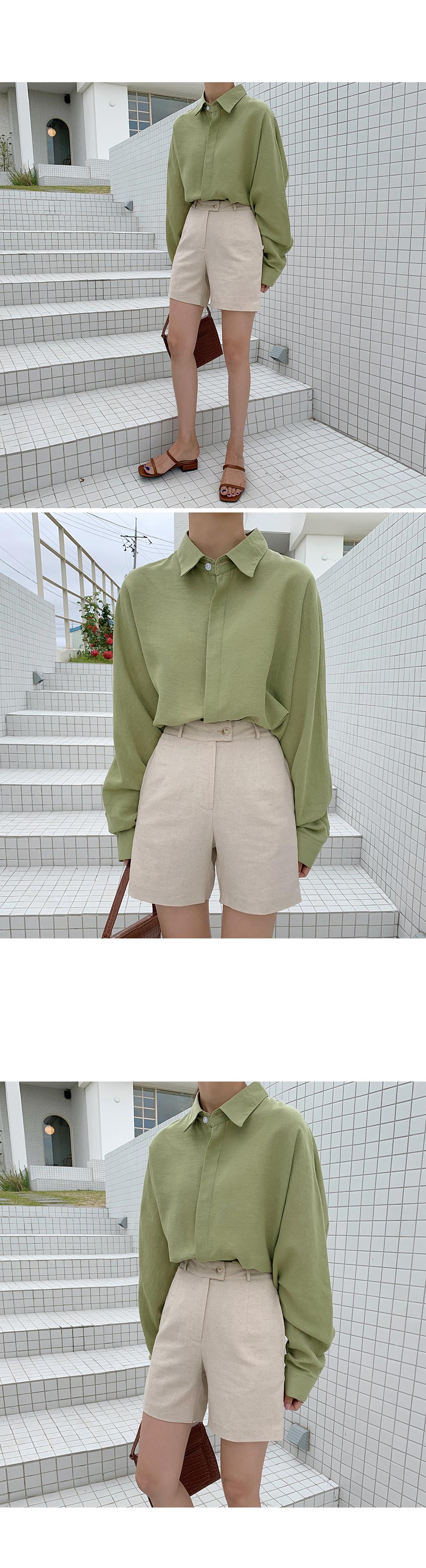 High Waist Beige Linen Short-holiholic.com