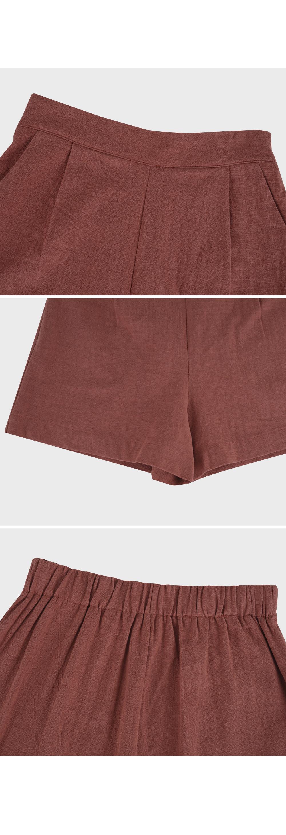 Elastic Waist Linen Short-holiholic.com