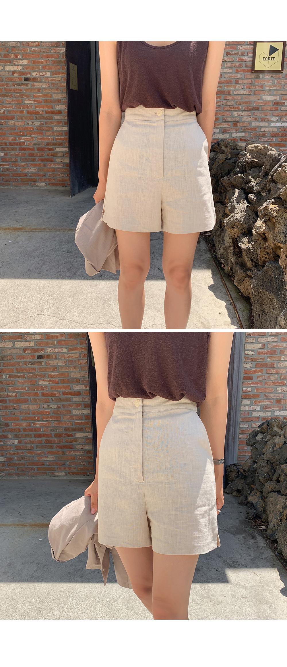 Side Slit Linen Short-holiholic.com