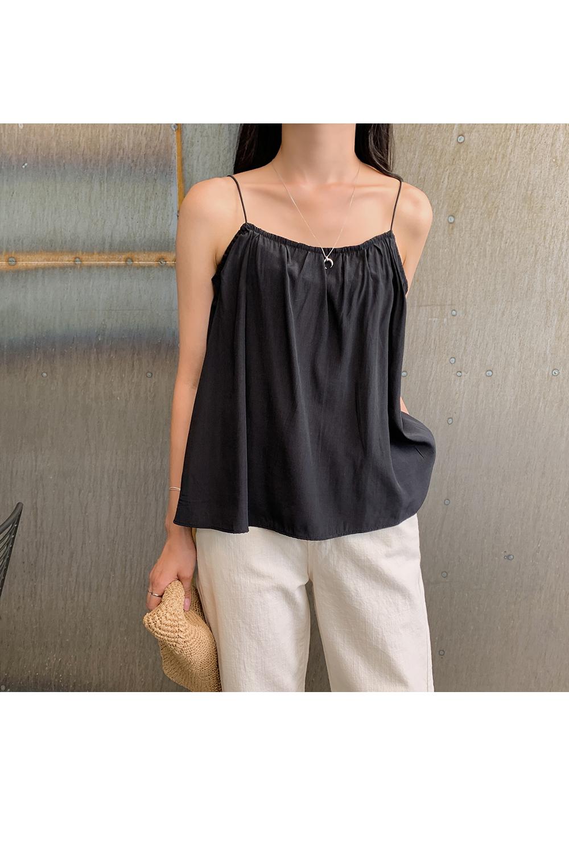 Square Neck Shirring Sleeveless Top-Holiholic