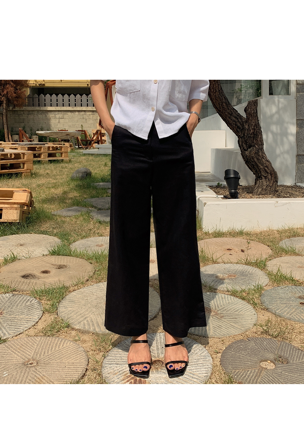 Ankle Straight Linen Pants-holiholic.com