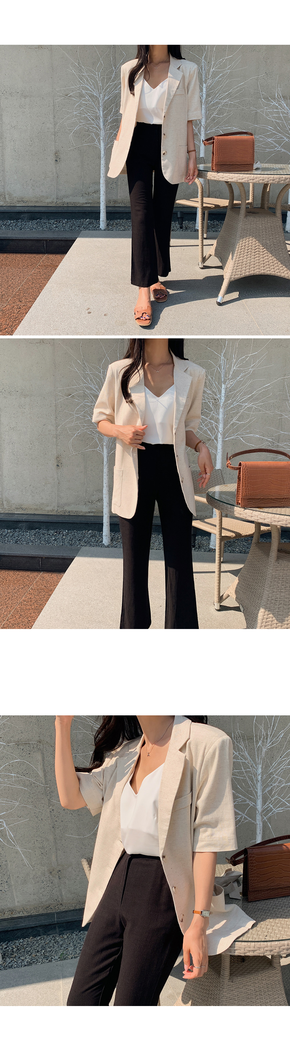 Short Sleeve Linen Jacket with Strap-Holiholic
