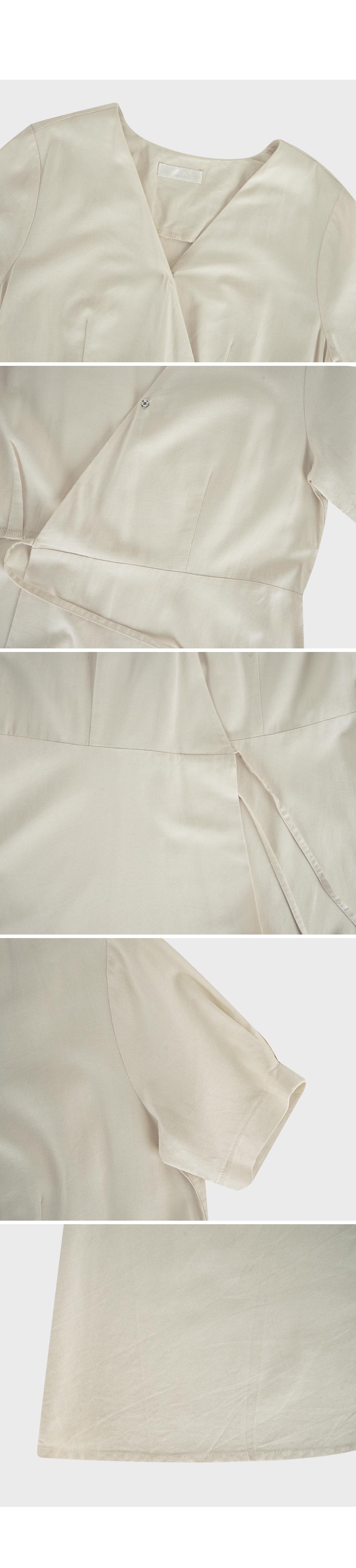 V Neck Linen Wrap Dress-holiholic.com