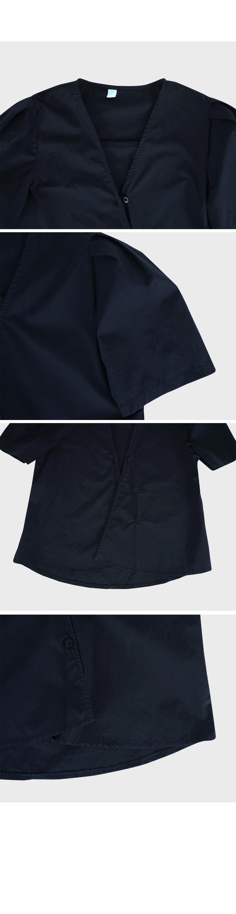 Navy Oblique Line Blouse-holiholic.com