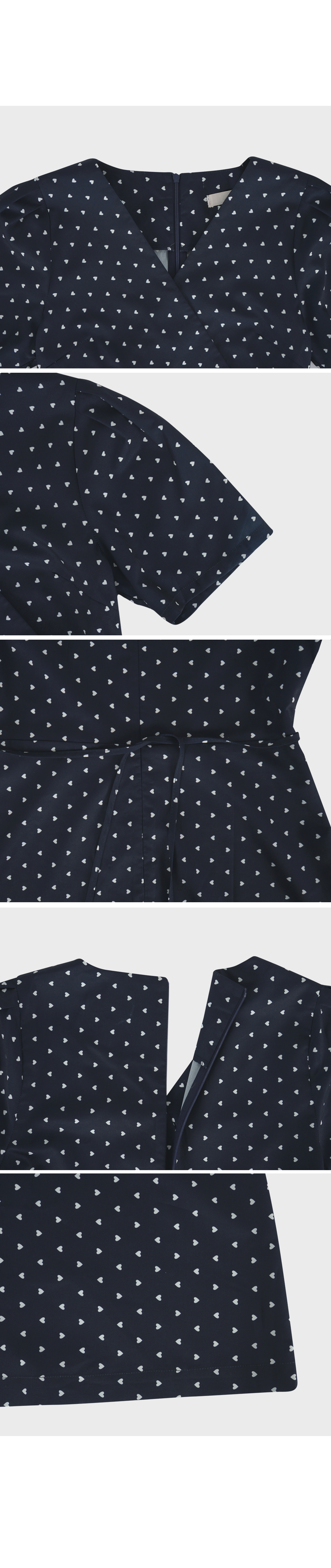 Navy Heart Printed Mini Dress- Holiholic