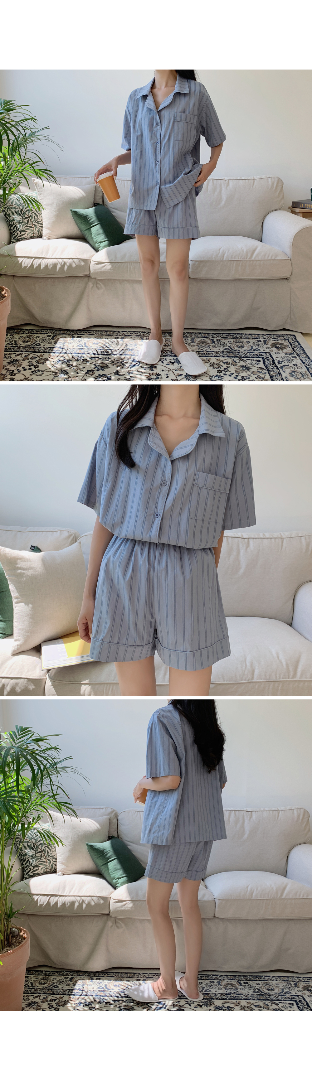Striped Short Pajama Set-holiholic.com