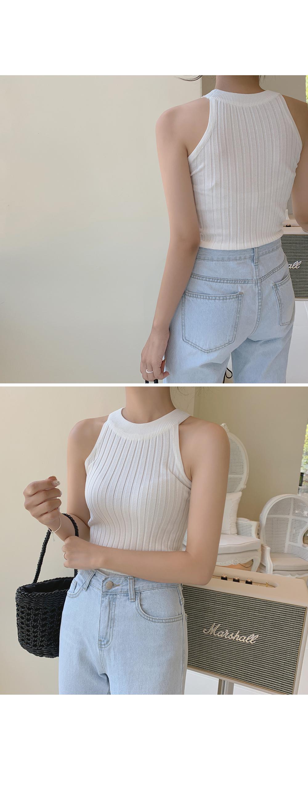 Summer Halter Neck Knit Top  -holiholic.com