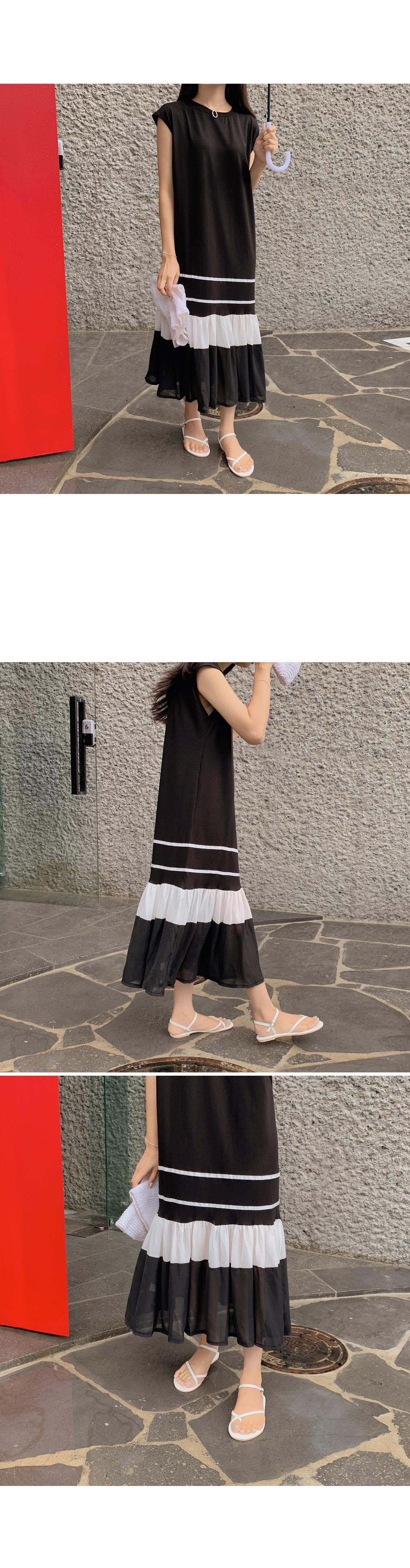 Frilled Hem Sleeveless Dress-holiholic.com