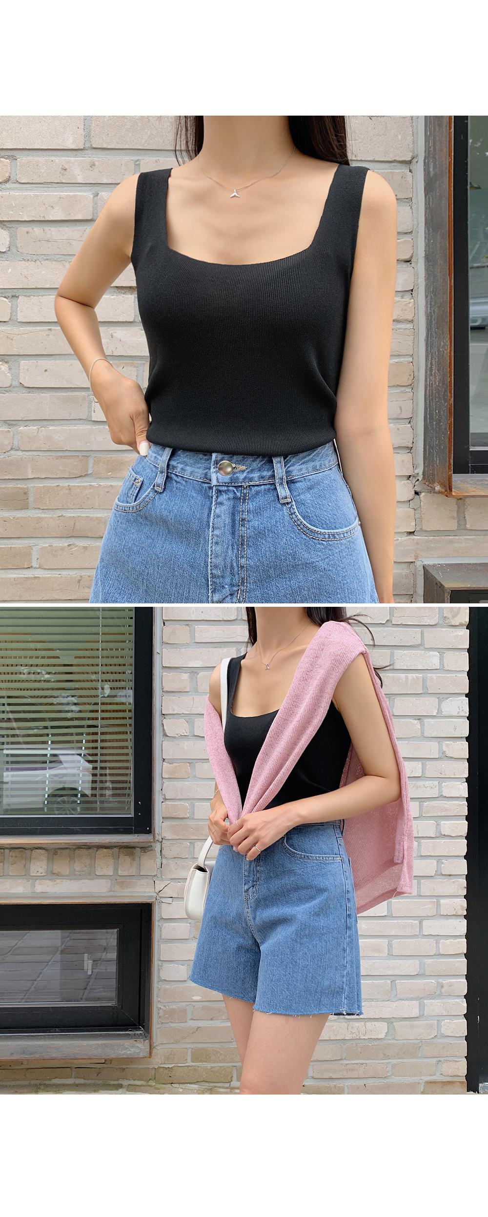 Square Neck Sleeveless Knit Top-holiholic.com