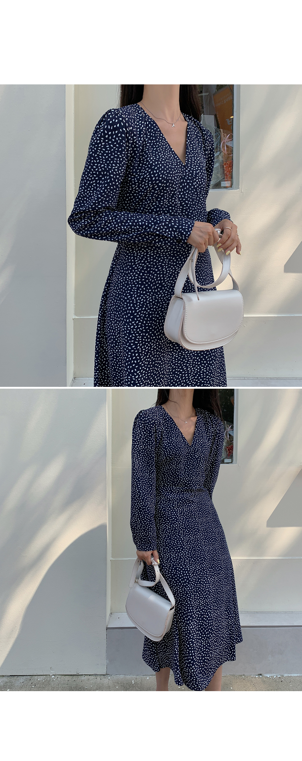Navy Wrap Style Flare Dress-holiholic.com