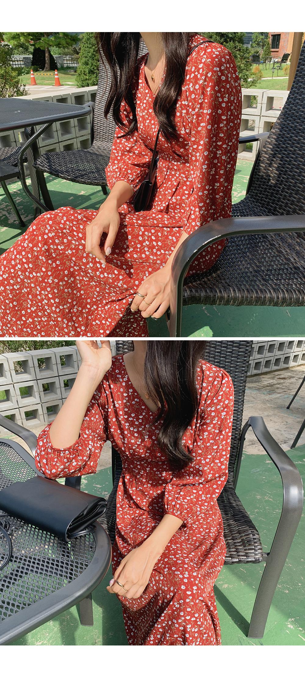 Callie V Neck Flower Dress-holiholic.com
