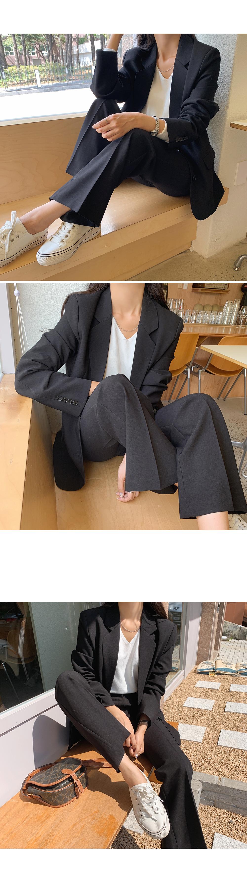 High Waisted Solid Trousers  -holiholic.com