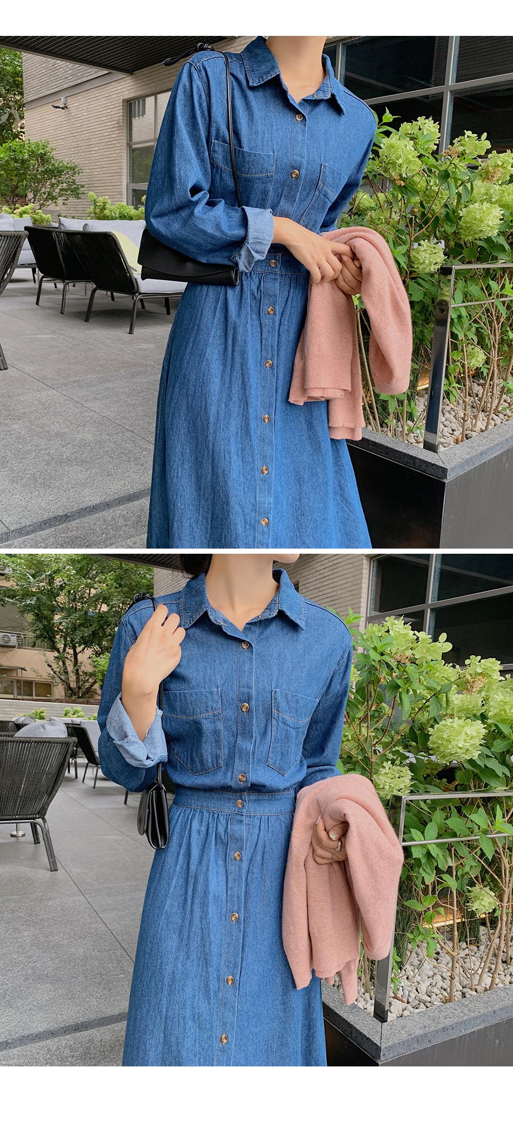 Leah Denim Shirt Dress-holiholic.com