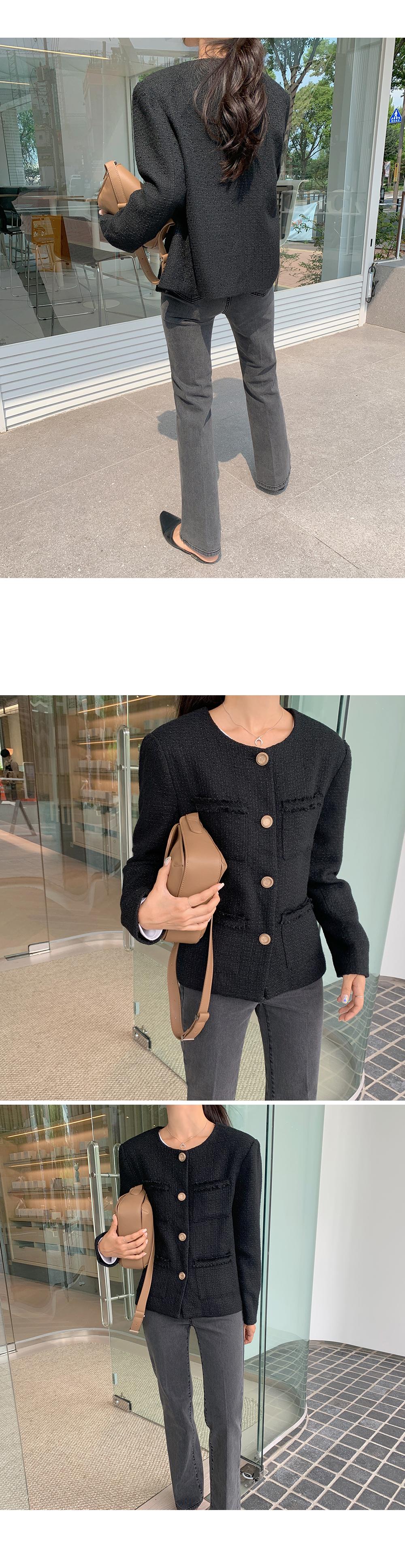 Scoop Neck Tweed Jacket-holiholi.com