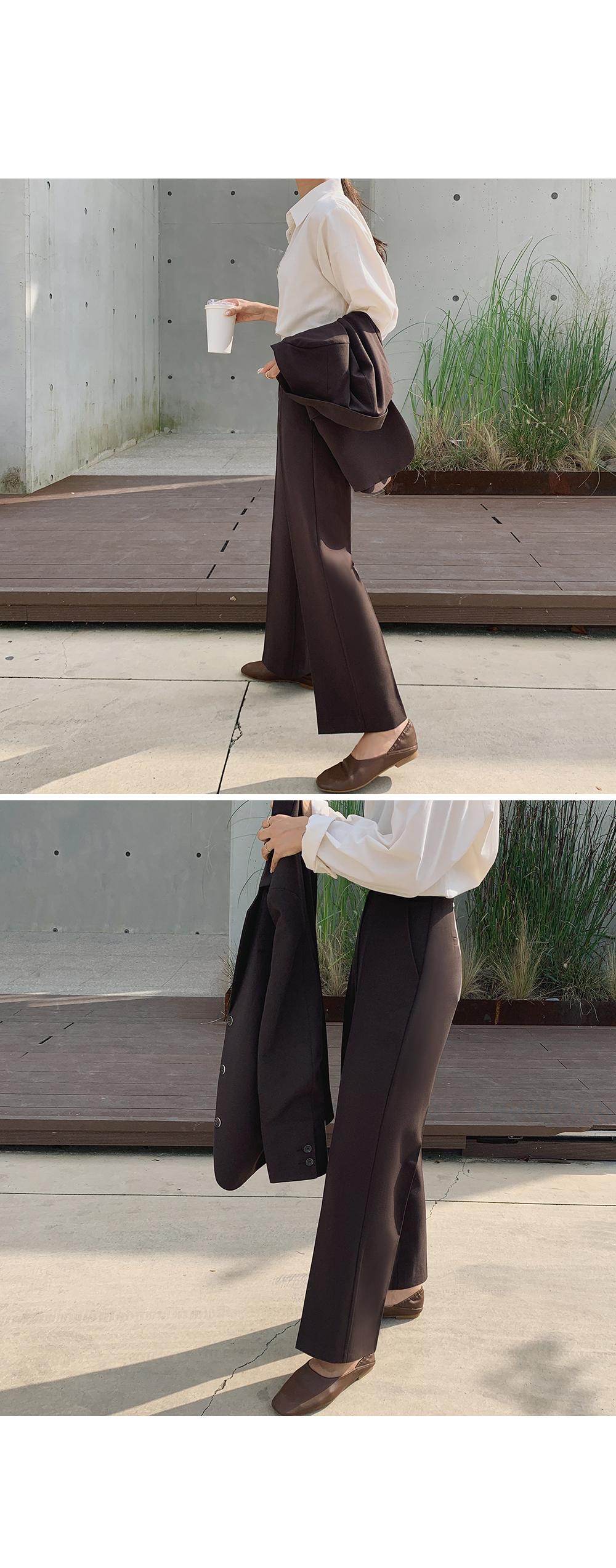 Dark Brown Straight Leg Slacks-holiholic.com