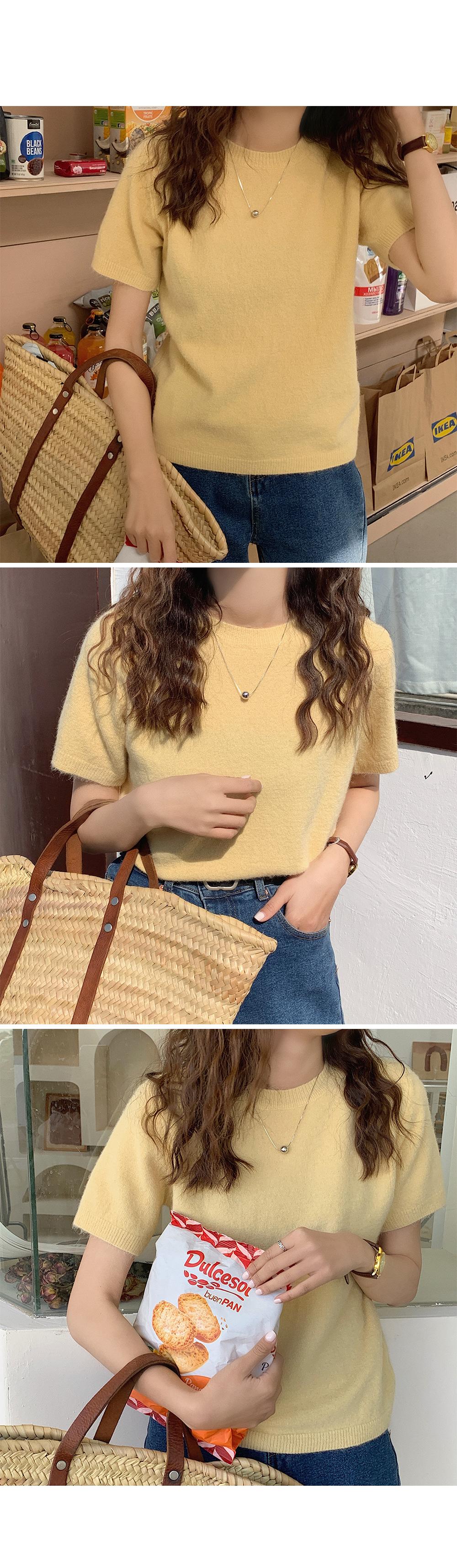 Casual Short Sleeve Knit Top-holiholic.com