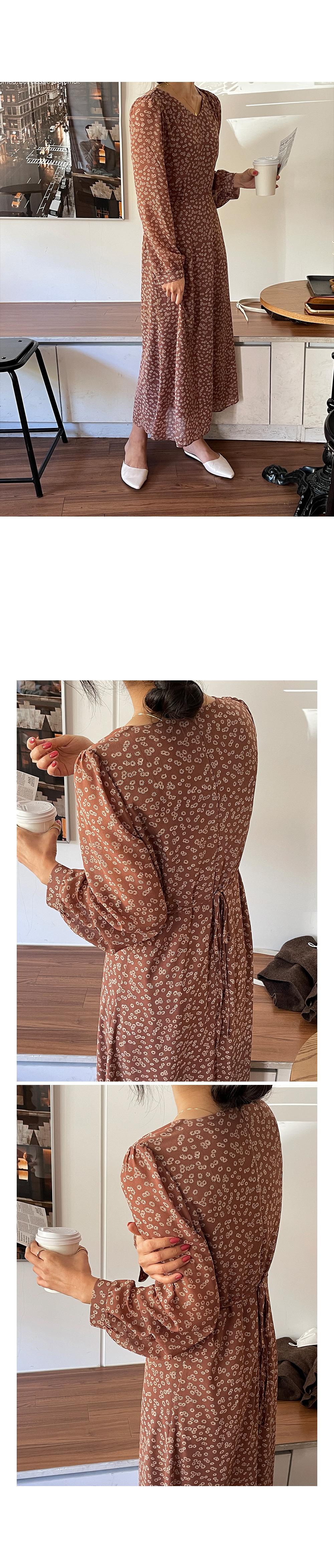 V Neck Flower Long Dress-holiholic.com