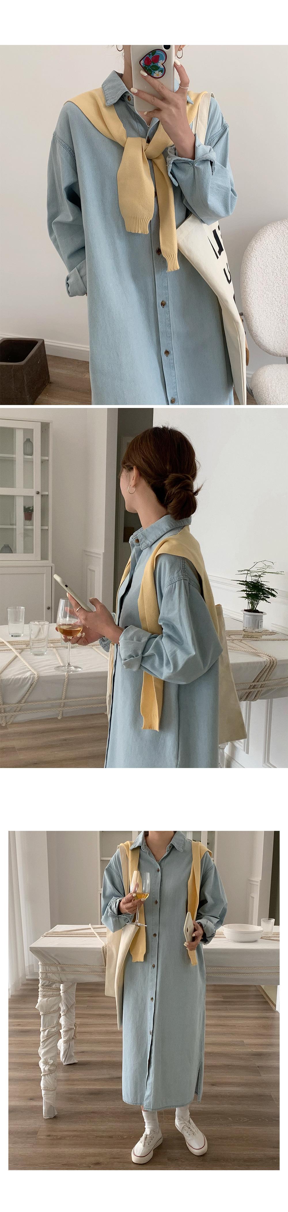 Casual Denim Shirt Dress-holiholic.com