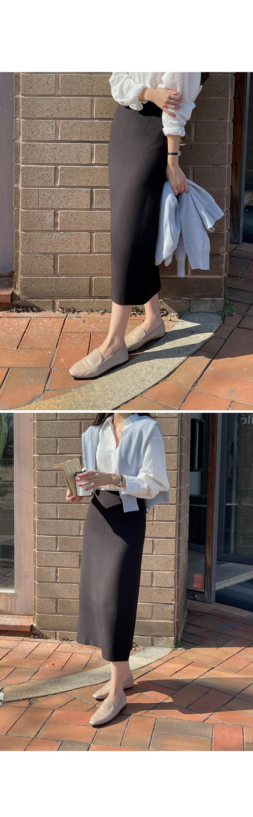 Tencel Back Slit Long Skirt-holiholic.com