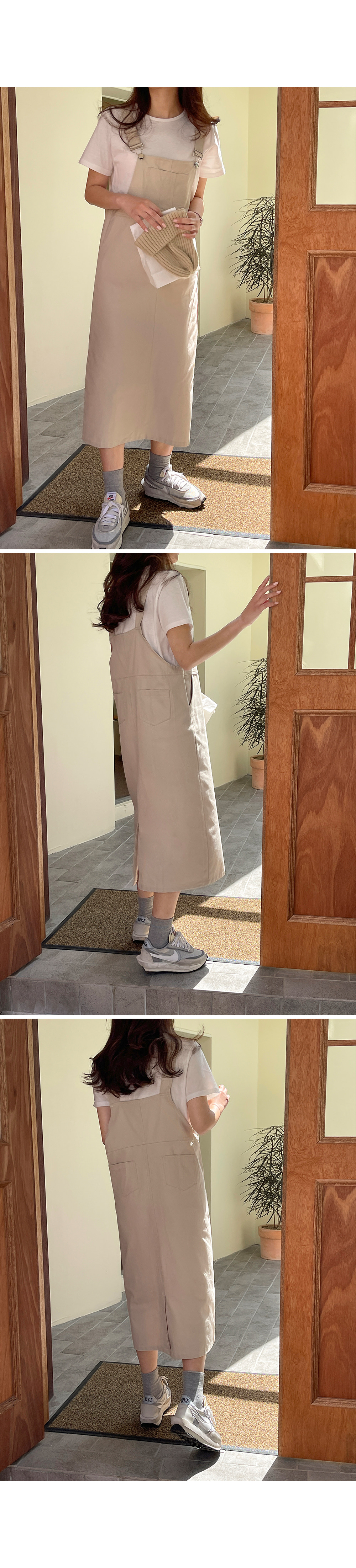 Casual Cotton Suspenders Dress-holiholic.com