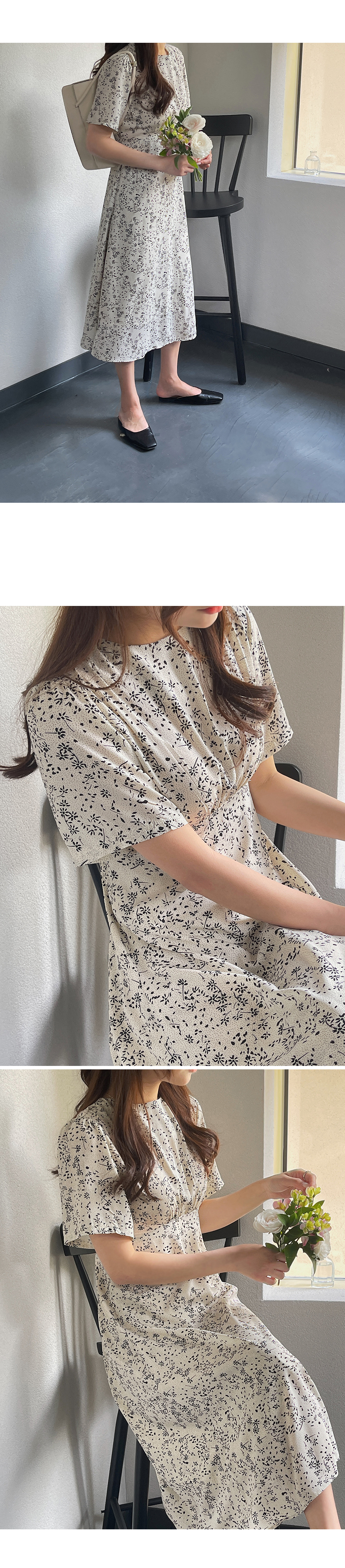 Front Shirring Floral Dress-holiholic.com