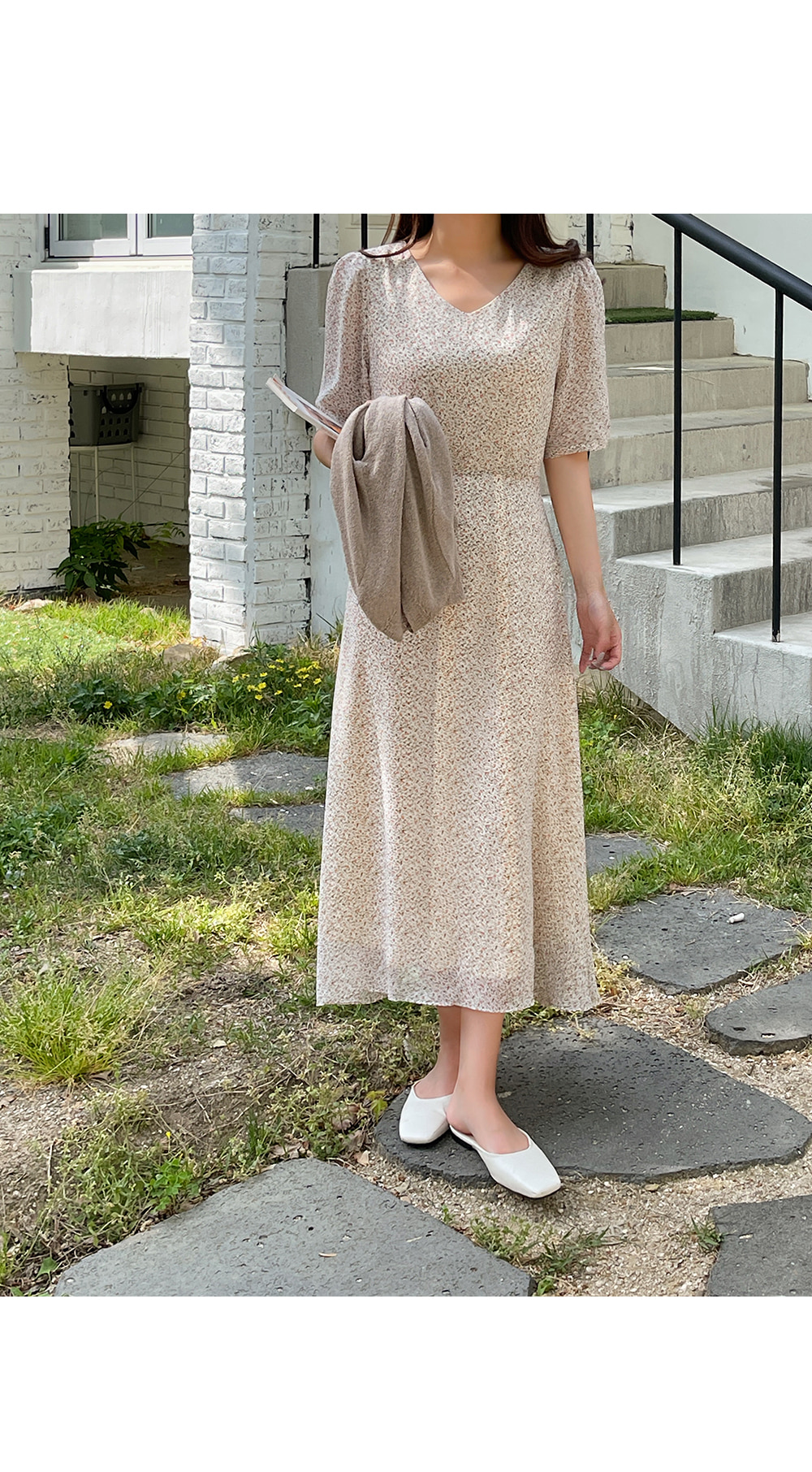 Creamy Ditsy Flower Long Dress-holiholic.com