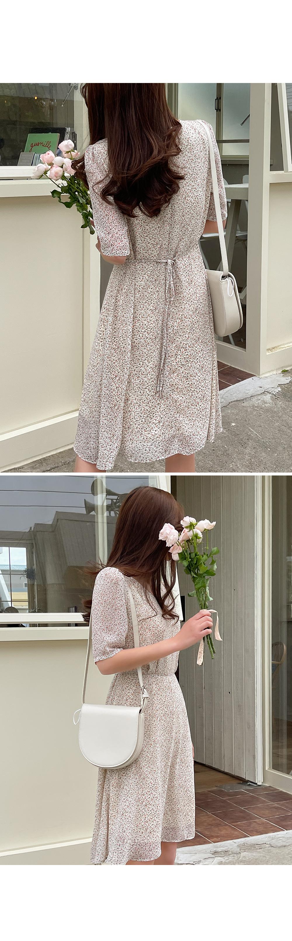 Creamy Ditsy Flower Short Dress-holiholic.com