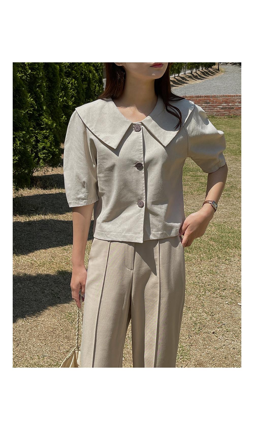 Wide Collar Puff Sleeve Blouse-Holiholic