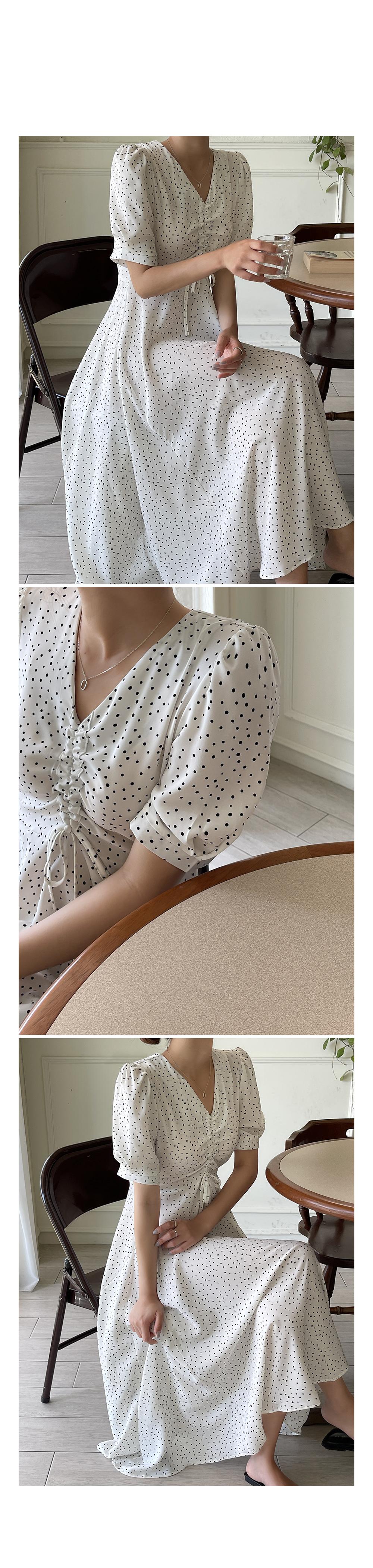 Front shirring Polka Dot Dress-holiholic.com